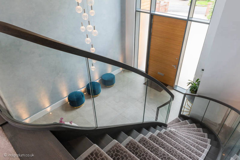 Luxury staircase in a new house in Bushey, Hertfordshire