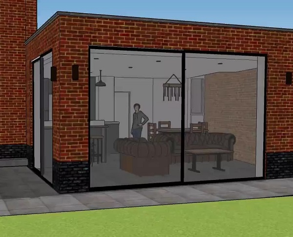 3d render of house extension plans created by an architect