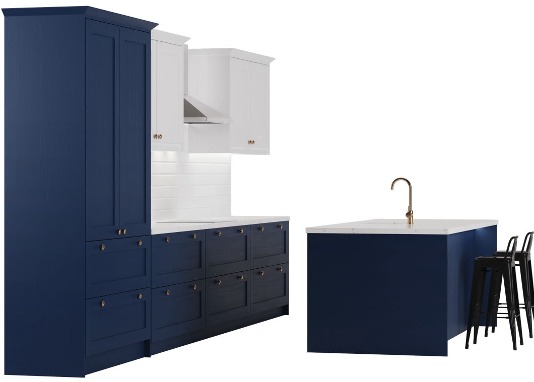 3D model of a white and dark blue shaker style kitchen