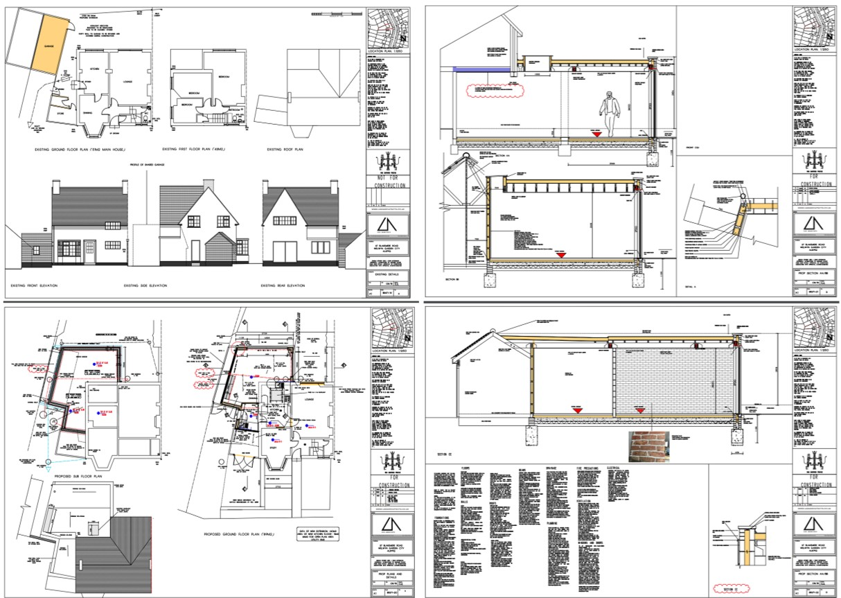 House extension plans drawn by a RIBA accredited architect