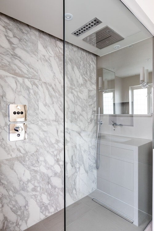 Shower area in a luxurious bathroom