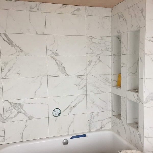 Bathroom renovation process - tiling