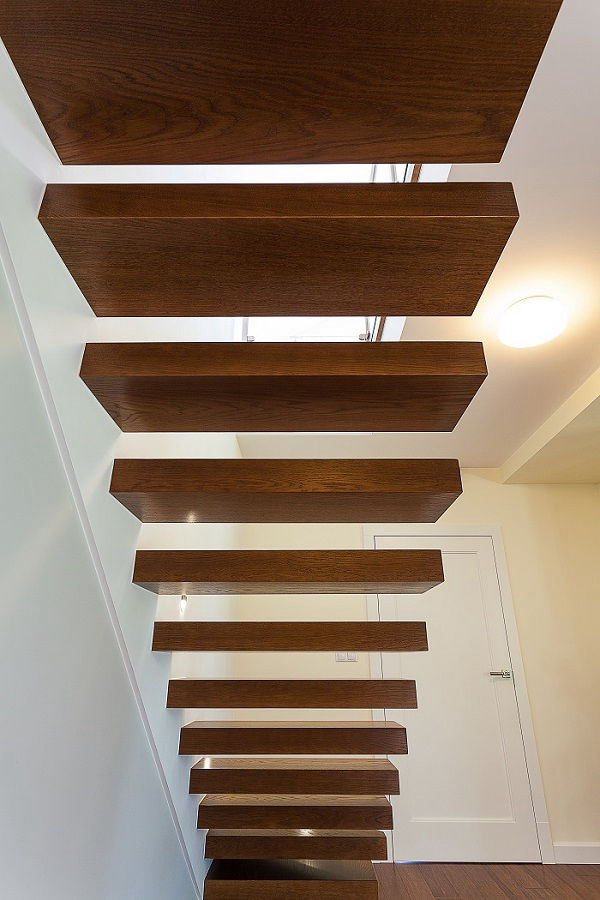 Floating stairs leading to a loft conversion