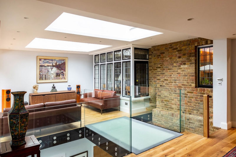 Interiors of a two-storey house extension