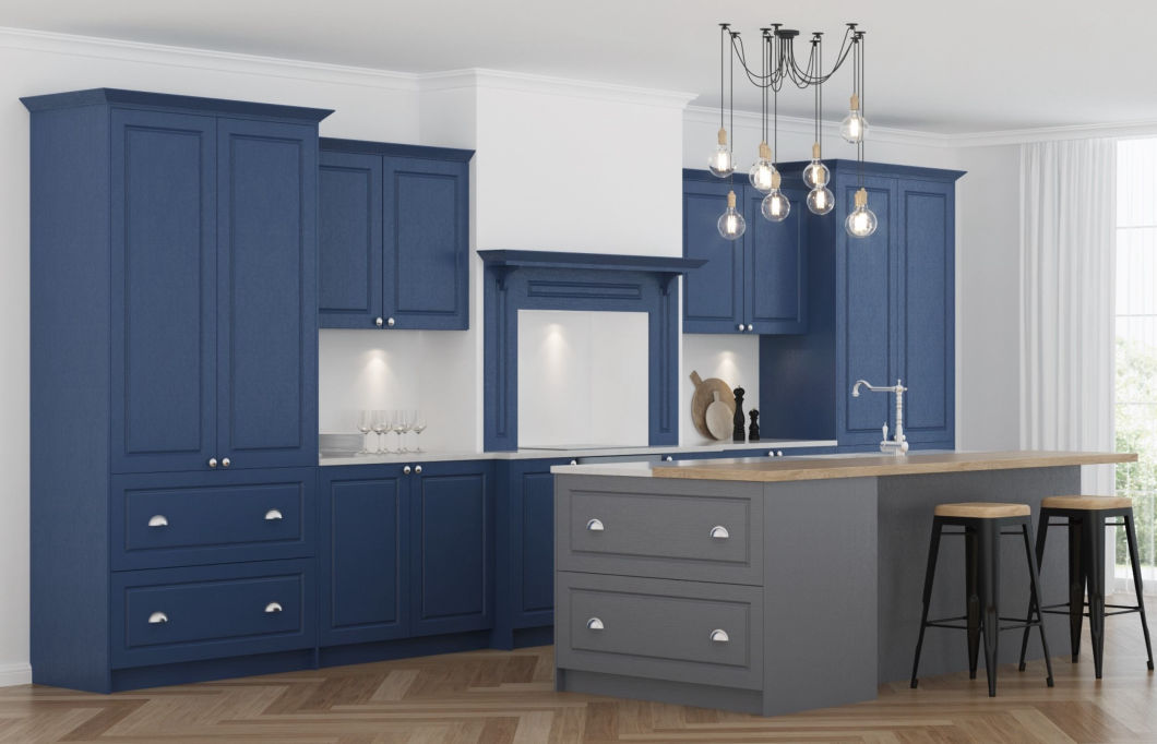 3D design of a dark blue shaker style kitchen