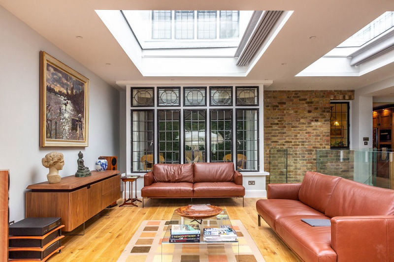 Living room in a double storey extension