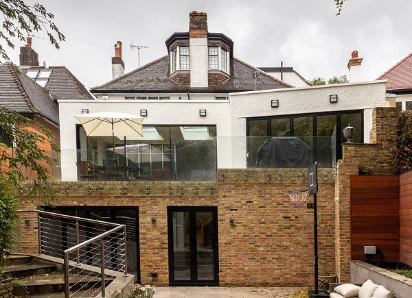 House extension with London multistock brick walls in North London