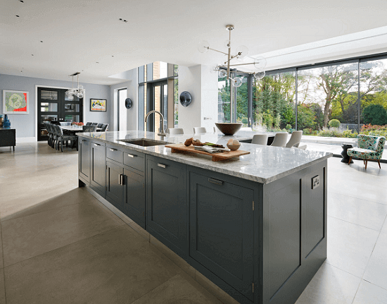 Large open plan kitchen in a new build home