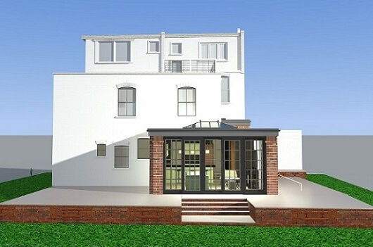 London 3D render design of a single storey wrap around extension near Potters Bar area