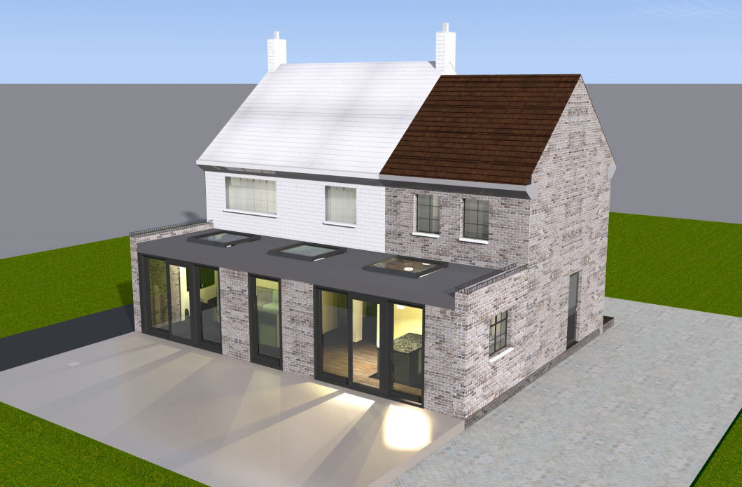 double storey side extension with a single storey extension at the back