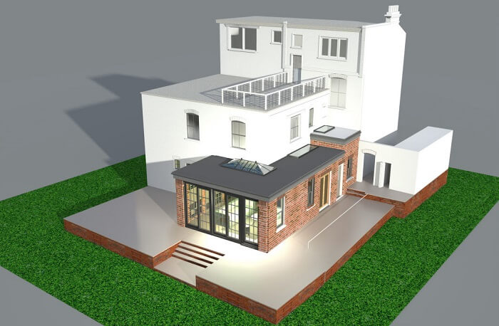 3D render of a singley storey wrap around extension in Hampstead