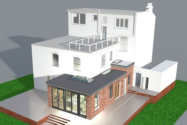 rear single storey extension design in Hendon area