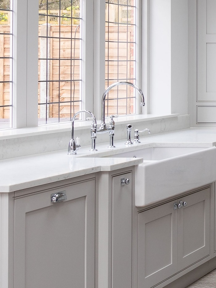 Sink and faucet in a newly renovated kitchen