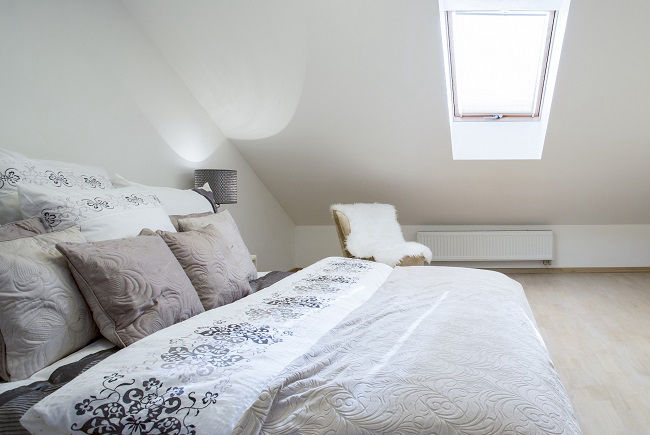 Bedroom in a roof light loft conversion