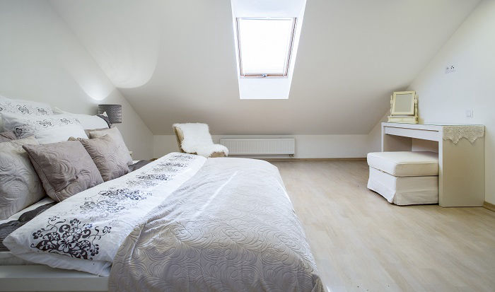 Double bedroom in a Velux roof light loft conversion
